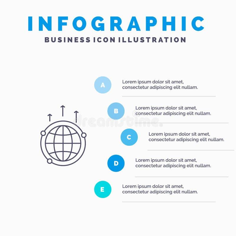 Kula ziemska, biznes, komunikacja, związek, Globalny, świat Kreskowa ikona z 5 kroków prezentacji infographics tłem ilustracji