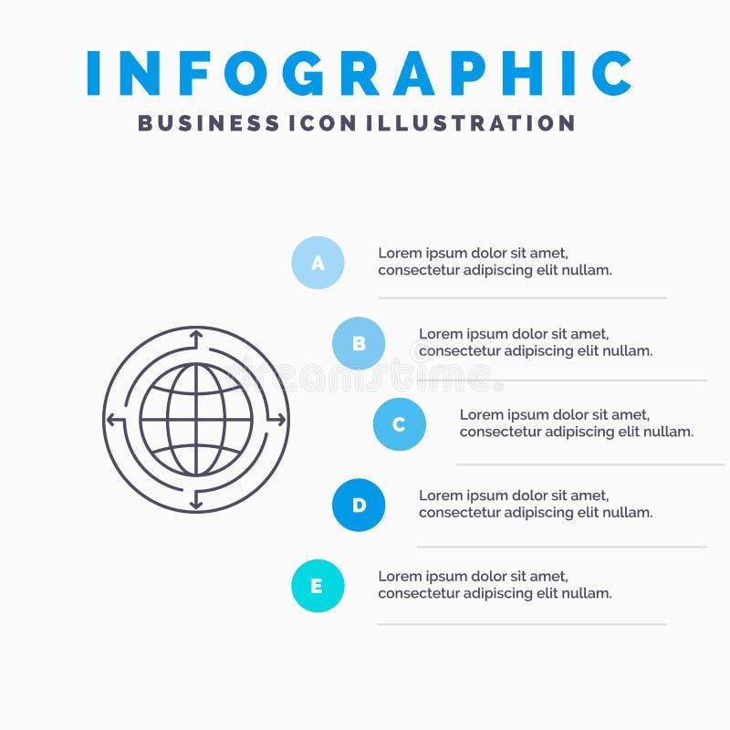 Kula ziemska, biznes, komunikacja, związek, Globalny, świat Kreskowa ikona z 5 kroków prezentacji infographics tłem ilustracja wektor