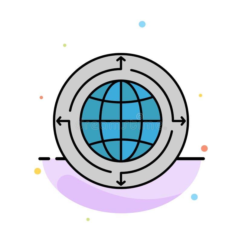 Kula ziemska, biznes, komunikacja, związek, Globalny, Światowy Abstrakcjonistyczny Płaski kolor ikony szablon, ilustracja wektor