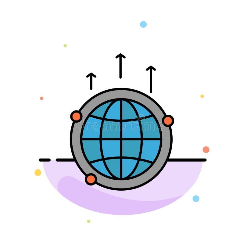 Kula ziemska, biznes, komunikacja, związek, Globalny, Światowy Abstrakcjonistyczny Płaski kolor ikony szablon, royalty ilustracja