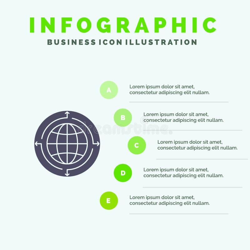 Kula ziemska, biznes, komunikacja, związek, Globalny, Światowy Stały ikony Infographics 5 kroków prezentacji tło, ilustracja wektor