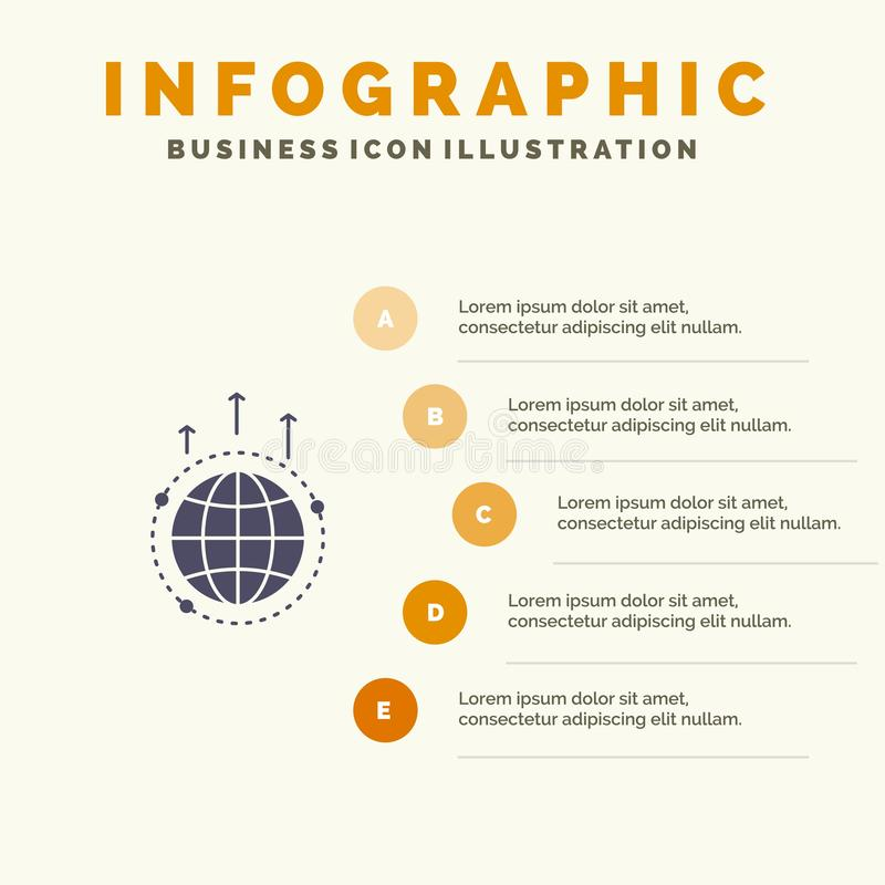Kula ziemska, biznes, komunikacja, związek, Globalny, Światowy Stały ikony Infographics 5 kroków prezentacji tło, royalty ilustracja