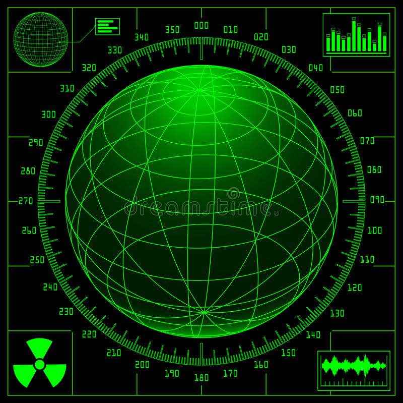 kula ziemska cyfrowy ekran radaru