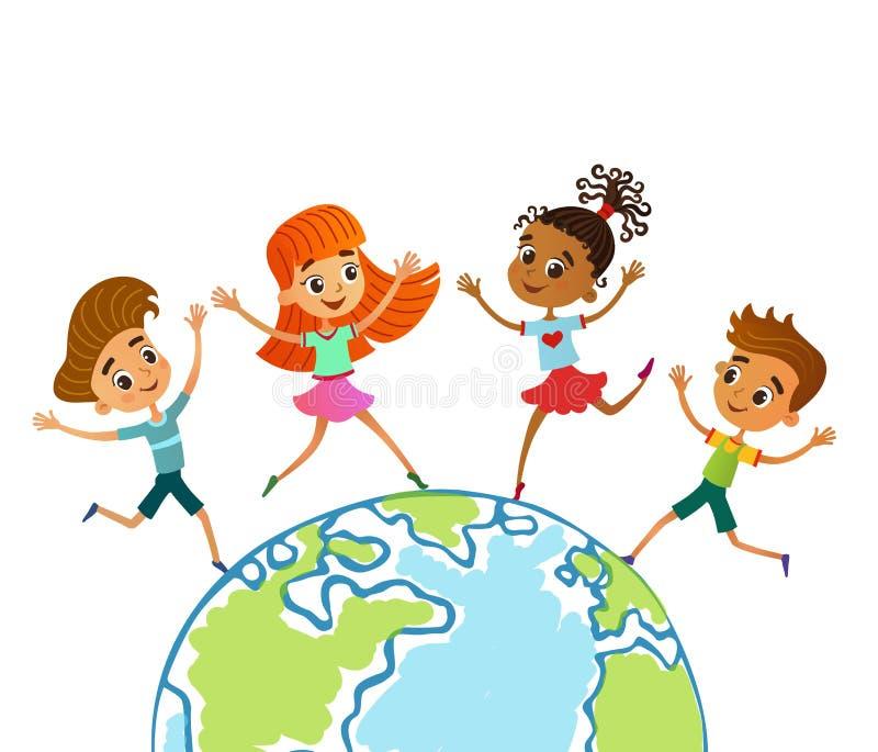 Kula ziemska dzieciaki Dziecko Ziemski dzień również zwrócić corel ilustracji wektora obrazy stock
