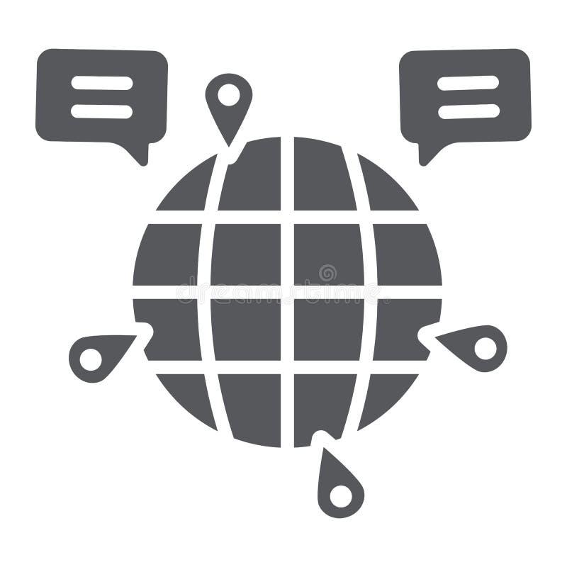 Kula ziemska glifu komunikacyjna ikona, internet i związek, globalny gadka znak, wektorowe grafika, bryła wzór na bielu ilustracji