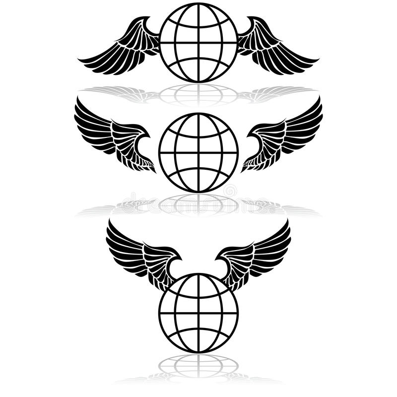 Kula ziemska i skrzydła ilustracja wektor