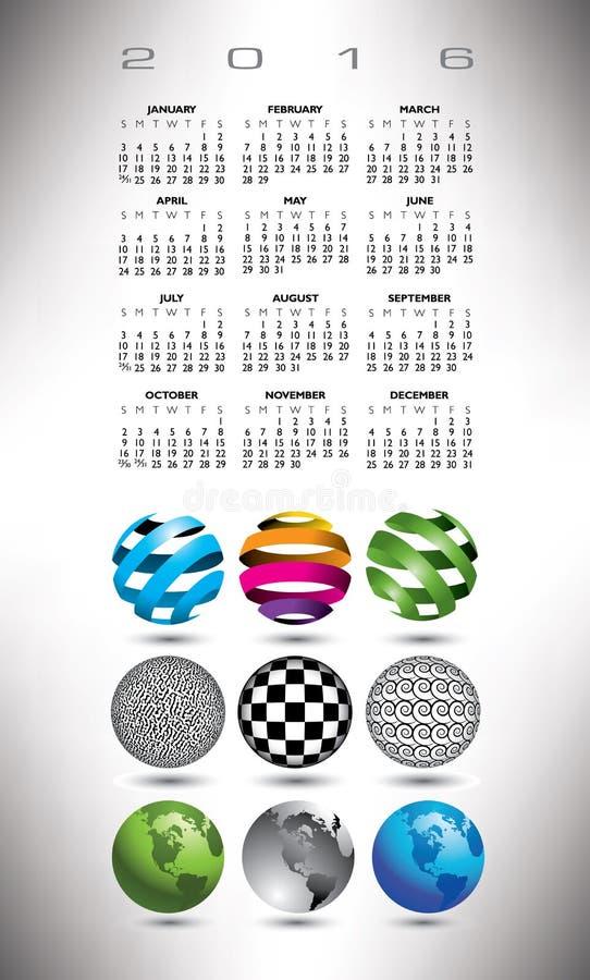 2016 kula ziemska kalendarz royalty ilustracja