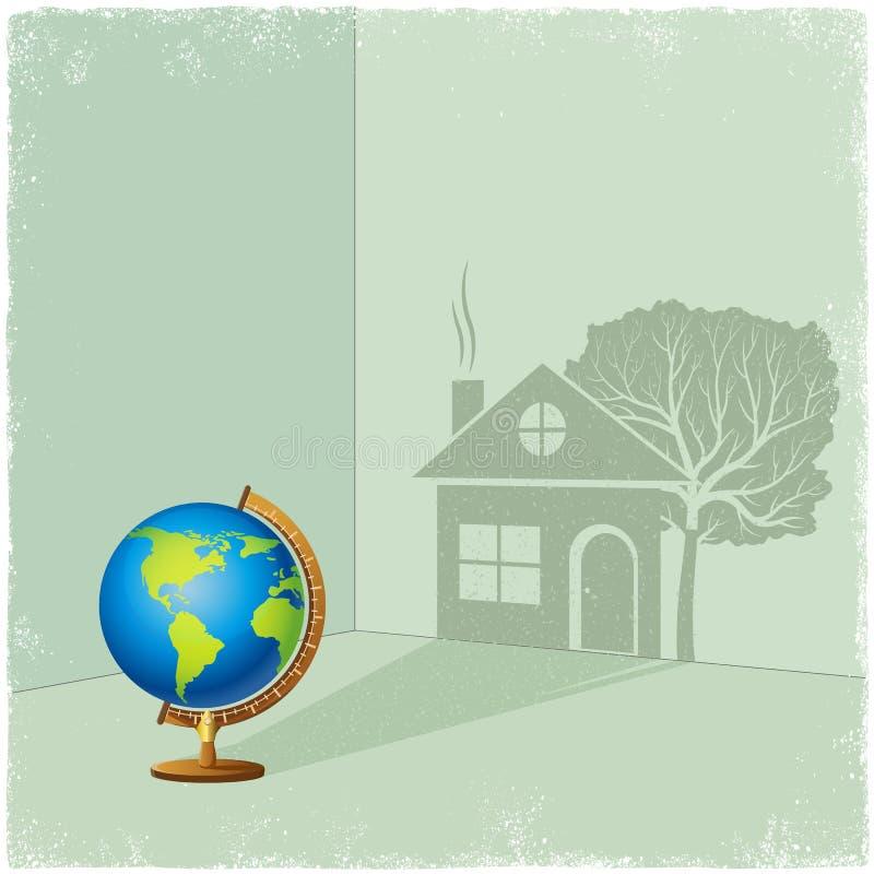 Kula ziemska kastingu cień dom i drzewo royalty ilustracja