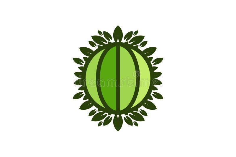 Kula ziemska liścia i światu save ziemi zielony logo Projektuje inspirację Odizolowywającą na Białym tle royalty ilustracja