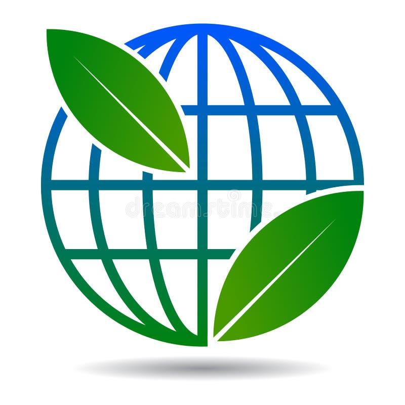 Kula ziemska liścia logo na bielu ilustracja wektor