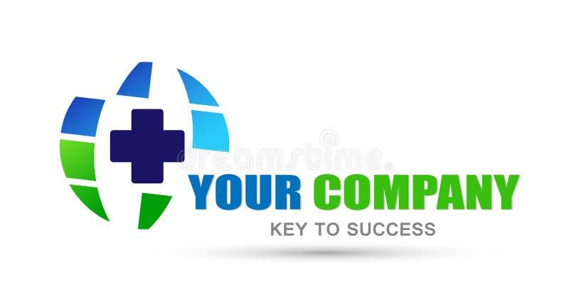 Kula ziemska loga ikony medyczny przecinający element dla firmy na białym tle royalty ilustracja
