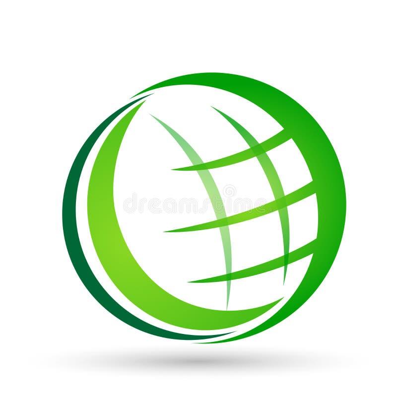 Kula ziemska logo Światowa ikona w zielonym wektorze w elemencie na białym tle ilustracja wektor