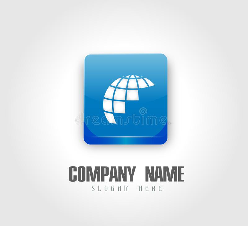 Kula ziemska logo i ikona element na logo royalty ilustracja
