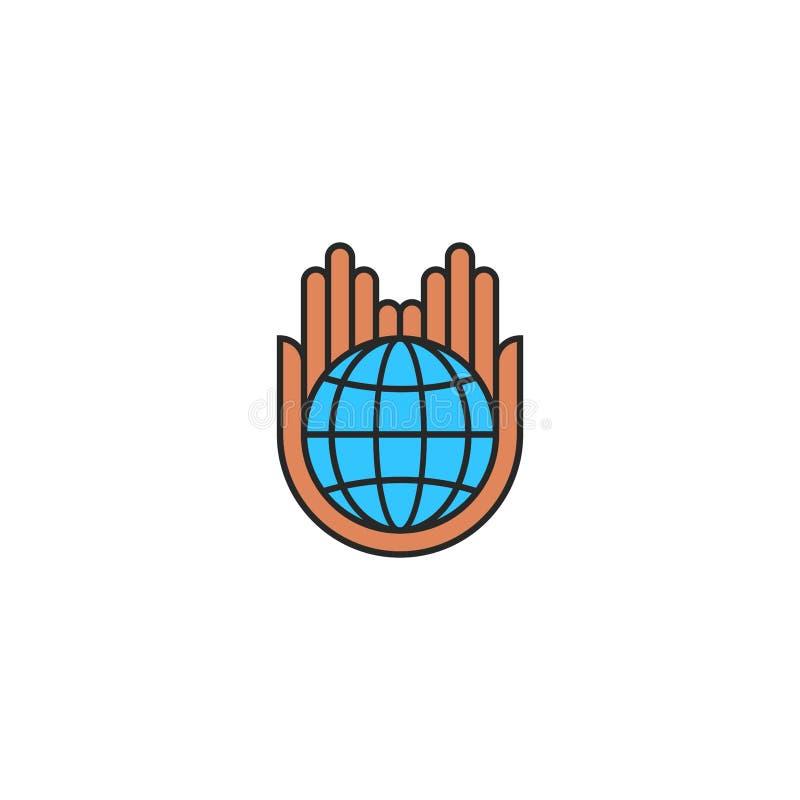 Kula ziemska logo oszczędzania planety ziemi pojęcie, opieki natury eco ikony mieszkania styl, ludzkie ręki trzyma błękitną plane ilustracji