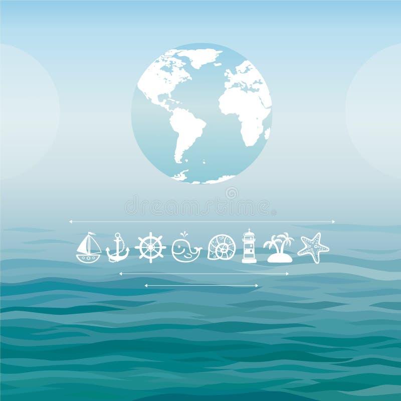 Kula ziemska na dennym tle z dennymi symbolami ilustracji