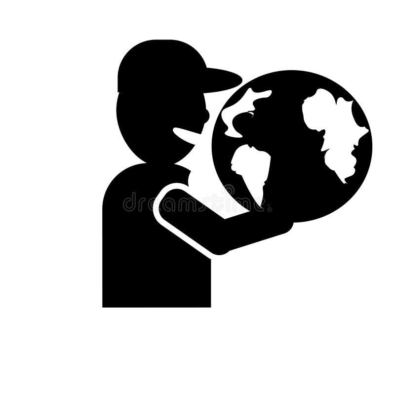 Kula ziemska na ręki ikony wektoru znaku i symbol odizolowywający na białym tle, kula ziemska na ręka logo pojęciu ilustracja wektor