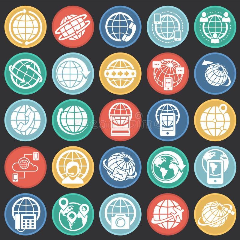 Kula ziemska odnosić sie ikony ustawiać na kolorów okregów czarnym tle dla grafiki i sieci projekta Prosty wektoru znak Internet ilustracji