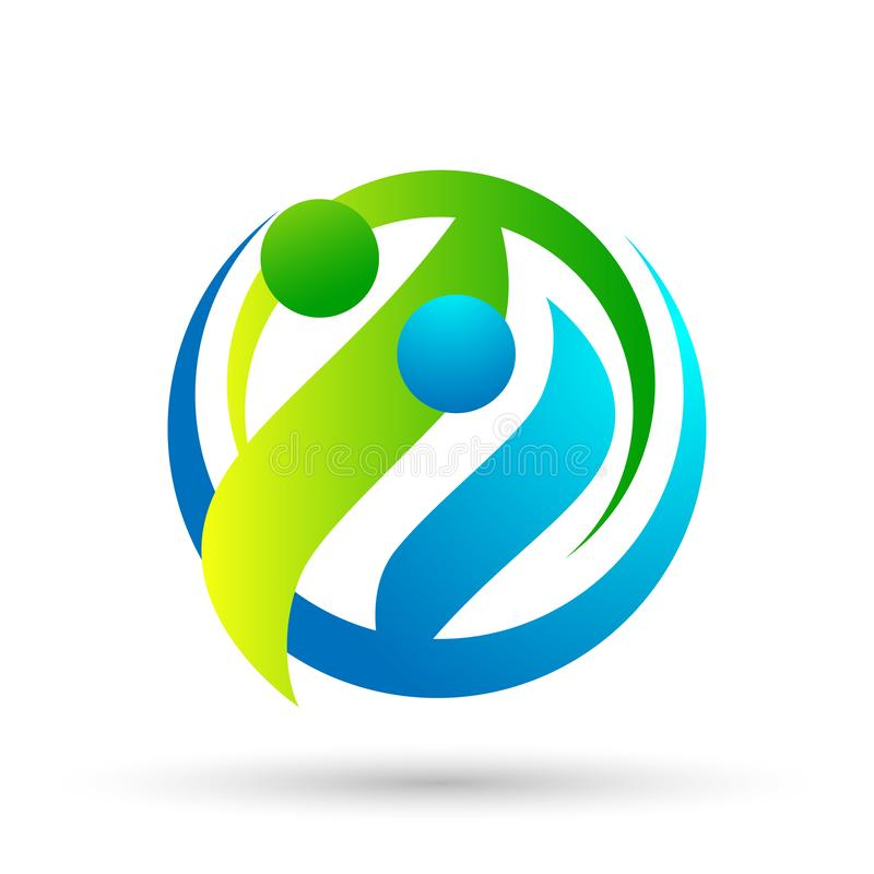 Kula ziemska oprócz światu oprócz ludzi opieki bierze opiek ludzi oprócz gacenie opieki logo ikony elementu rodzinnego wektoru na ilustracji