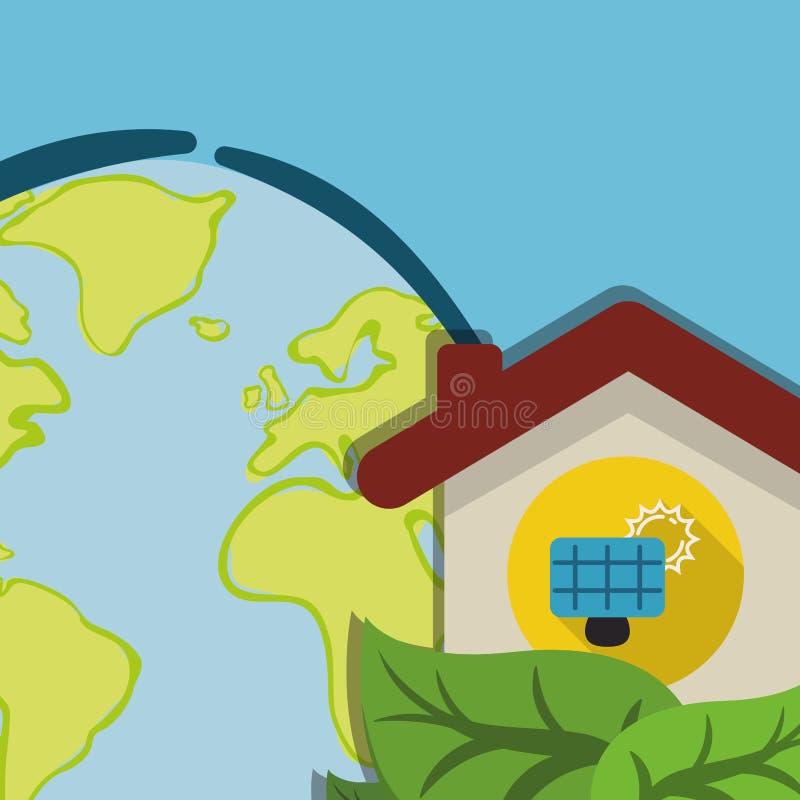 Kula ziemska panelu słonecznego domowa energetyczna ekologia royalty ilustracja