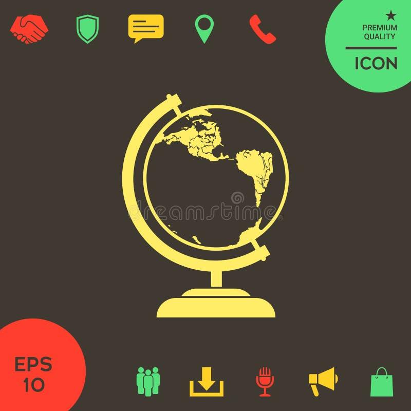 Kula ziemska symbol - ikona ilustracja wektor