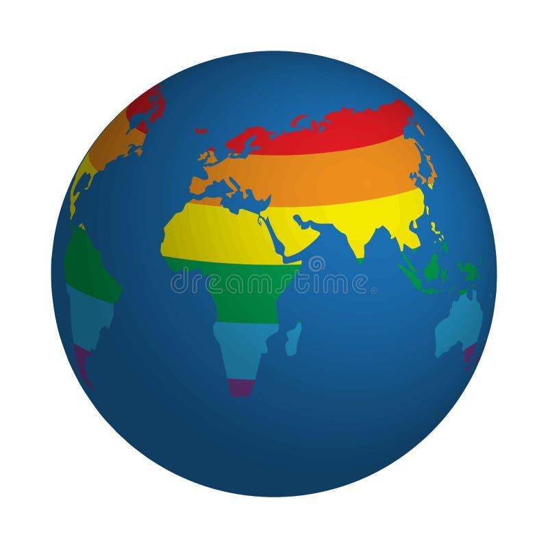 Kula ziemska symbol z lgbt tęczą barwił światową mapę Ikona odizolowywająca na bielu ziemia Kolorowy tęczy ziemi kuli ziemskiej i ilustracja wektor
