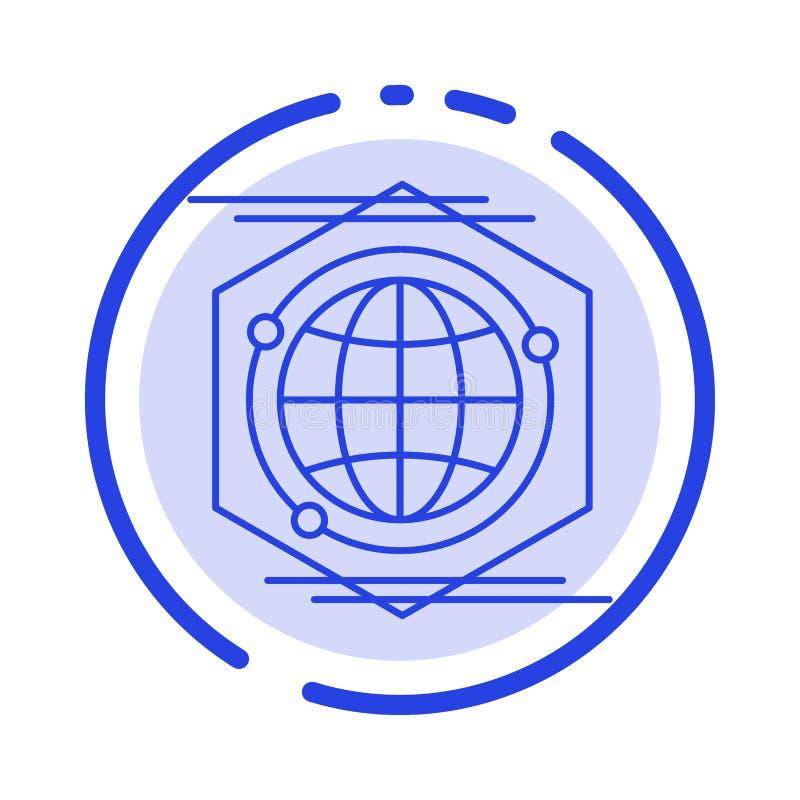 Kula ziemska, wielobok, przestrzeń, pomysł linii linii błękit Kropkująca ikona ilustracji