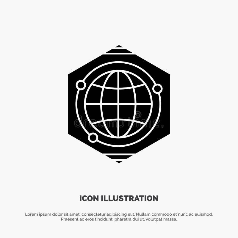 Kula ziemska, wielobok, przestrzeń, pomysłu glifu ikony stały wektor ilustracji