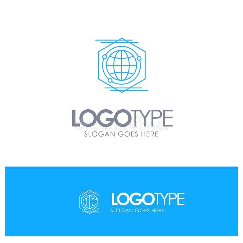 Kula ziemska, wielobok, przestrzeń, pomysłu konturu Błękitny logo z miejscem dla tagline ilustracja wektor