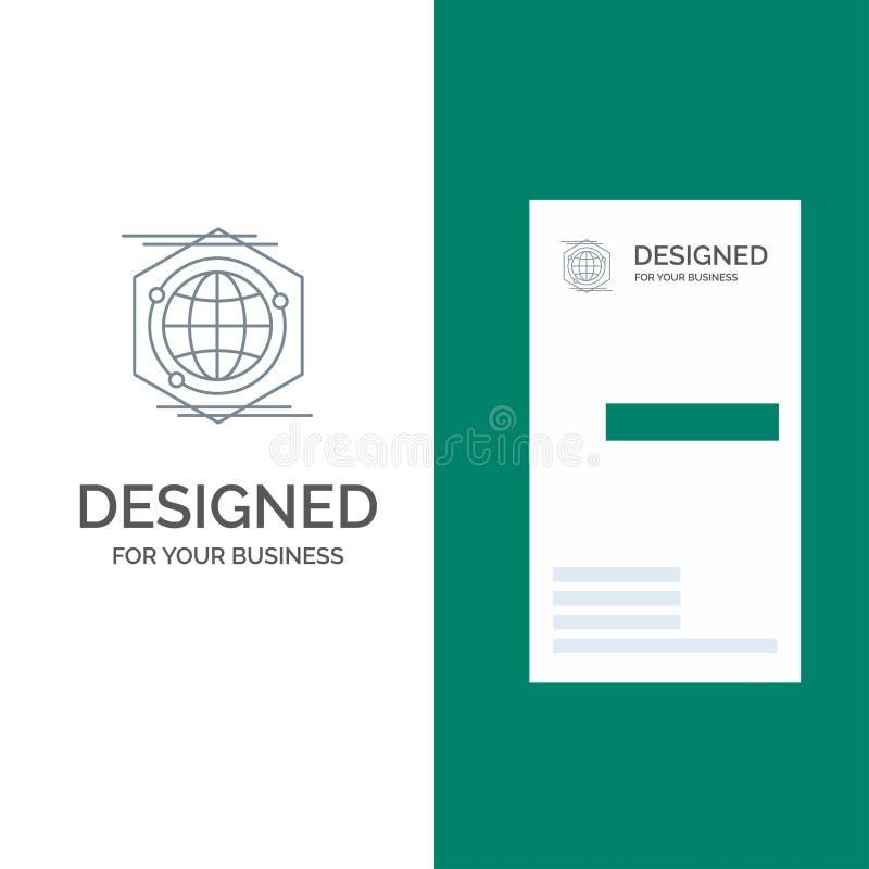 Kula ziemska, wielobok, przestrzeń, pomysłu logo Popielaty projekt i wizytówka szablon, royalty ilustracja