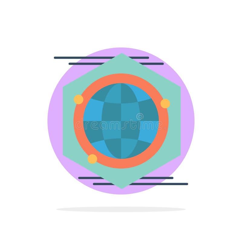 Kula ziemska, wielobok, przestrzeń, pomysłu okręgu Abstrakcjonistycznego tła koloru Płaska ikona royalty ilustracja