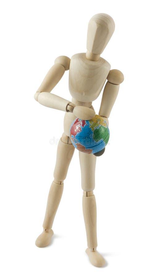 kula ziemska wręcza mannequin drewnianego obrazy royalty free