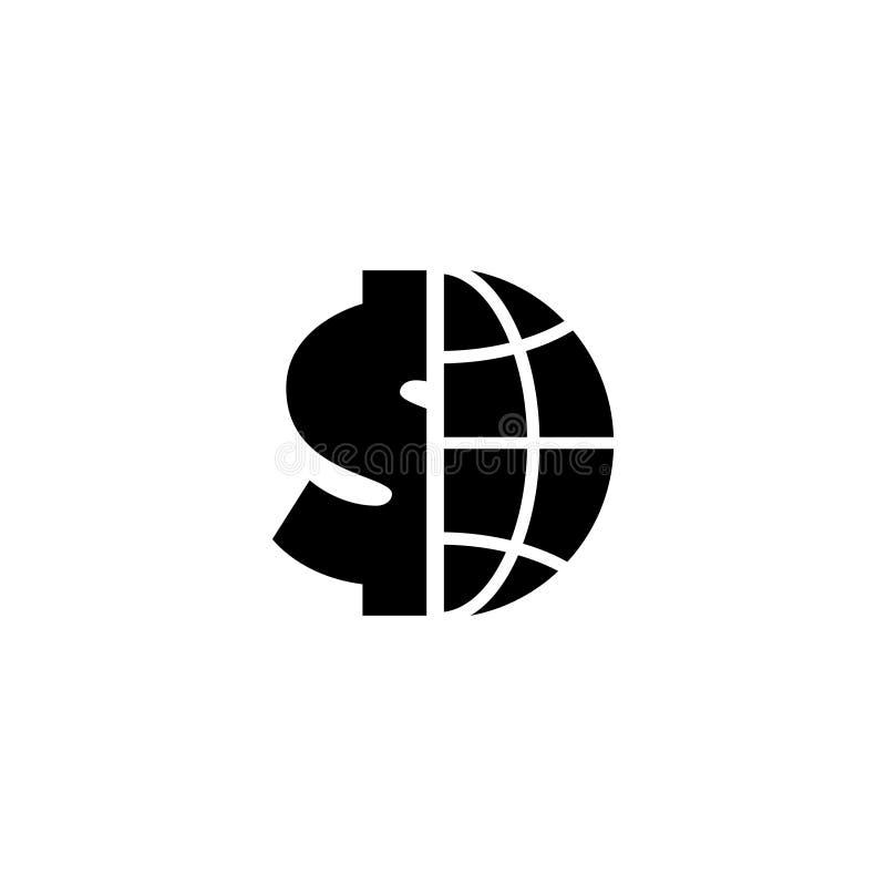 Kula ziemska z Dolarową Płaską Wektorową ikoną ilustracja wektor