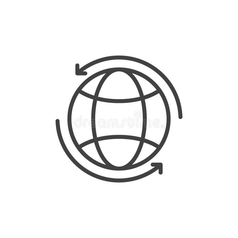 Kula ziemska z strzała wokoło kreskowej ikony, konturu wektoru znak, liniowy stylowy piktogram odizolowywający na bielu ilustracja wektor