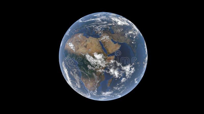 Kula ziemska za warstwą widoczną Madagascar Afryka i India chmury, dobrze, półwysep arabski, odizolowywał Ziemską kulę ziemską, 3 royalty ilustracja