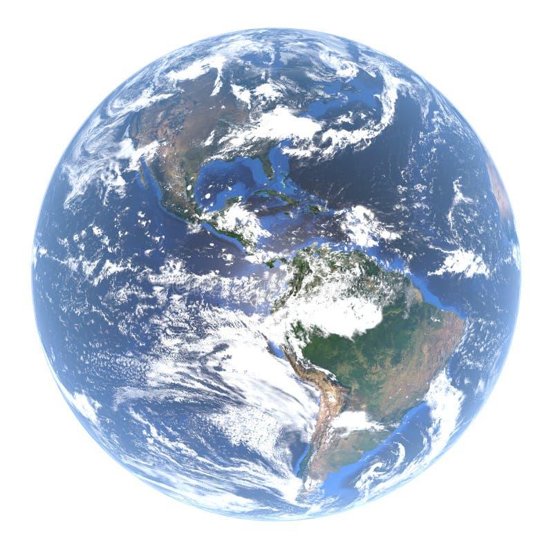 Kula ziemska ziemia - Północna Ameryka i Ameryka Południowa za chmurami, 3d rendering, elementy ten wizerunek meblujący NASA royalty ilustracja