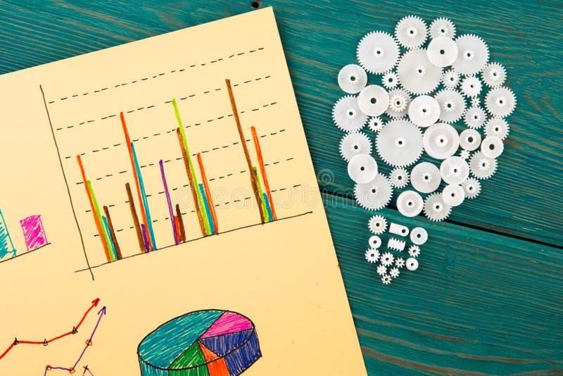 kulan som komponeras av kugghjulen och, skissar av grafer fotografering för bildbyråer