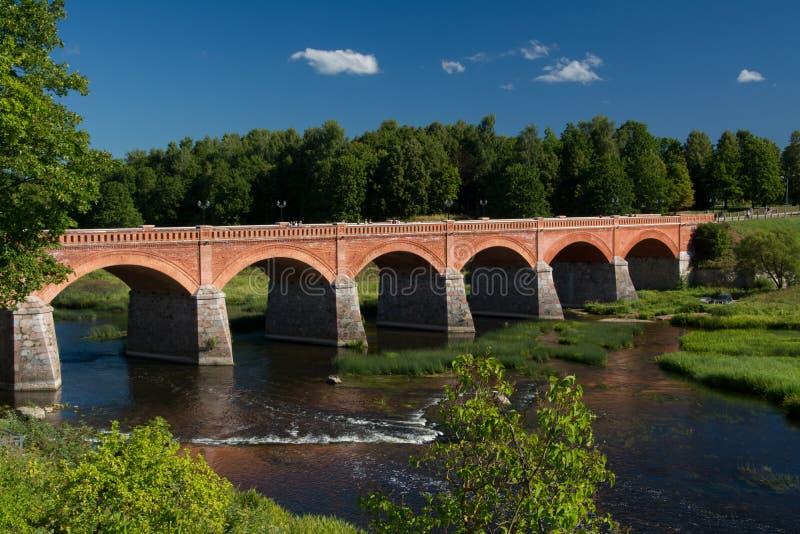 Kuldiga bridge. Red brick bridge in Kuldiga, Latvia - longest of this kind of road bridge in Europe