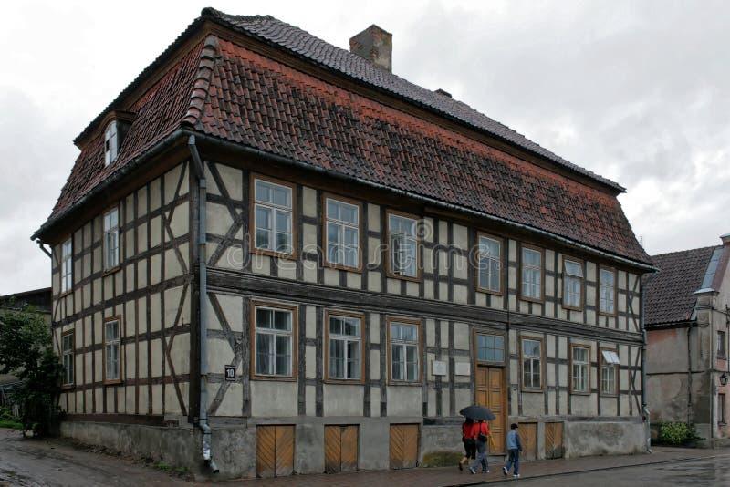 Kuldiga in Latvia, odl town. Kuldiga, Latvia. A former pharmacy in the Old Town stock photos