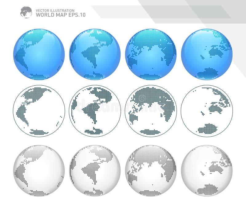 Kule ziemskie pokazuje ziemię z wszystkie kontynentami Kropkowany światowy kula ziemska wektor royalty ilustracja