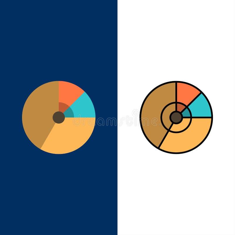 Kulebiak, biznes, mapa, diagram, finanse, wykres, statystyk ikony Mieszkanie i linia Wypełniający ikony Ustalony Wektorowy Błękit ilustracja wektor
