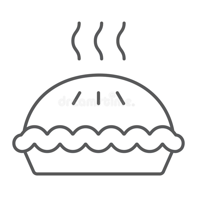 Kulebiak cienka kreskowa ikona, ciasto i jedzenie, torta znak, wektorowe grafika, liniowy wzór ilustracja wektor