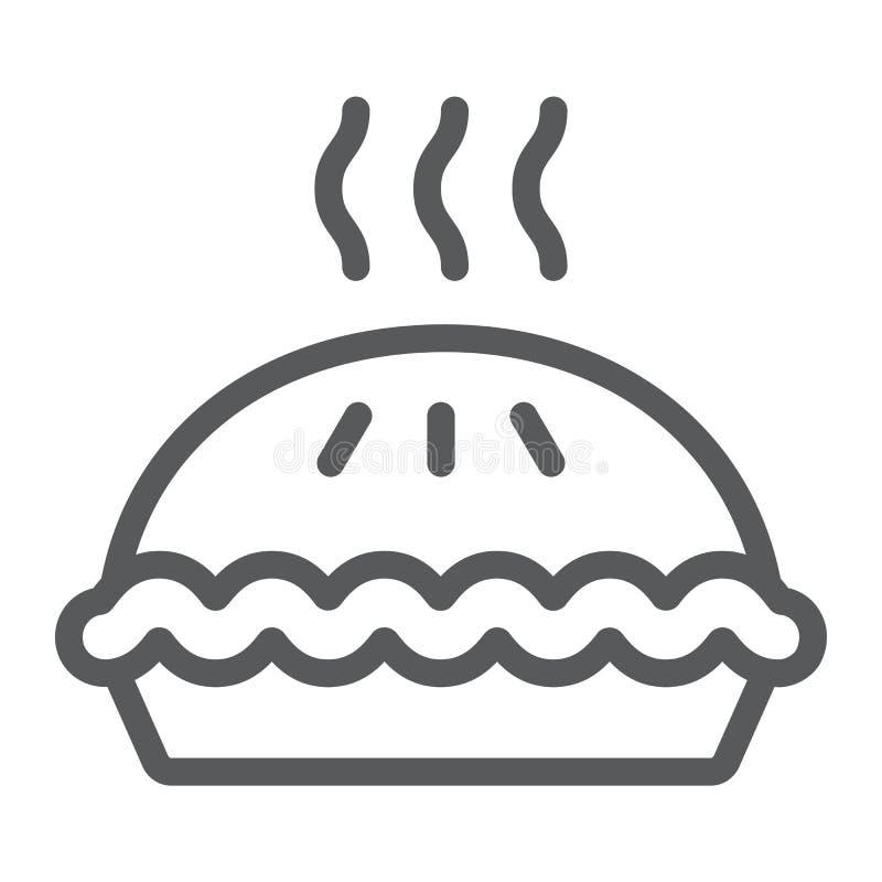 Kulebiak kreskowa ikona, ciasto i jedzenie, torta znak, wektorowe grafika, liniowy wzór na białym tle ilustracji