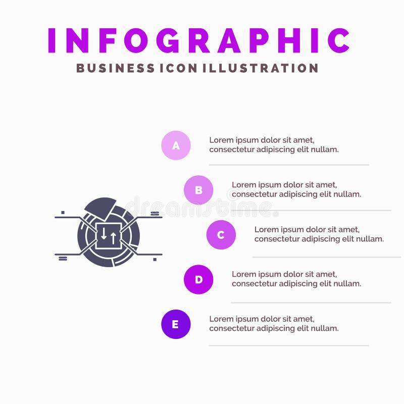 Kulebiak, mapa, raport, odsetek ikony Infographics 5 kroków prezentacji Stały tło royalty ilustracja