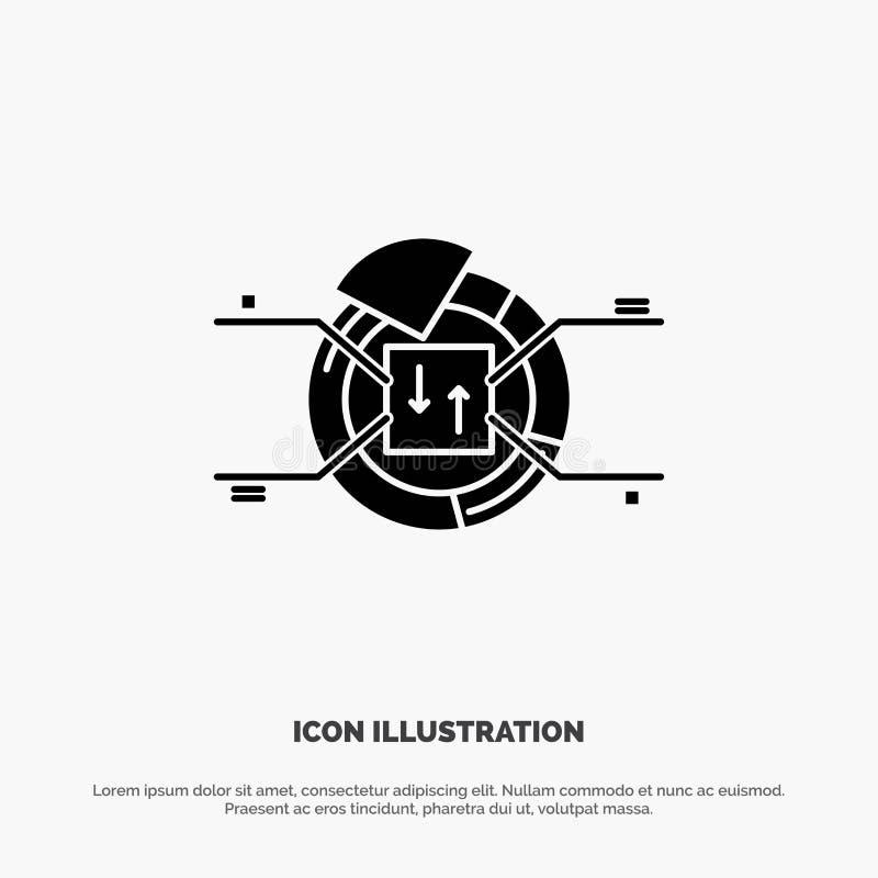 Kulebiak, mapa, raport, odsetka glifu ikony stały wektor royalty ilustracja