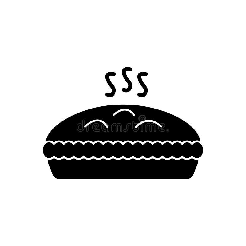 Kulebiak z mięsną ikoną, wektorowa ilustracja, czerń znak na odosobnionym tle ilustracja wektor