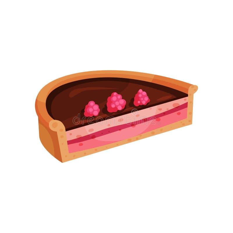 Kulebiak z wyśmienicie plombowaniem Połówka smakowity deser dekorował z dojrzałymi różowymi malinkami Apetyczny słodki jedzenie m ilustracji