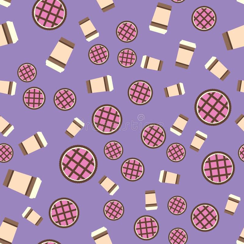 Kulebiaka & kawy wzór Bezszwowy wektorowy płaski karmowy tło ilustracji
