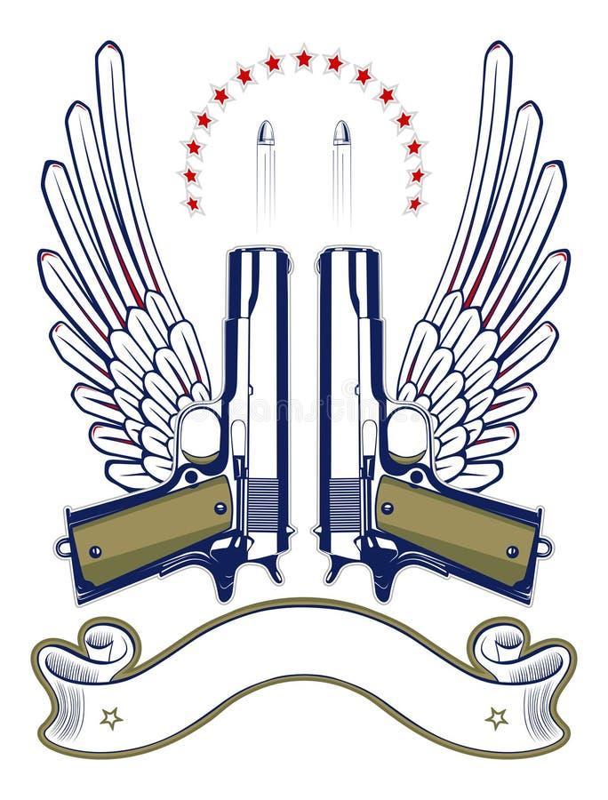 kulemblemtryckspruta royaltyfri illustrationer