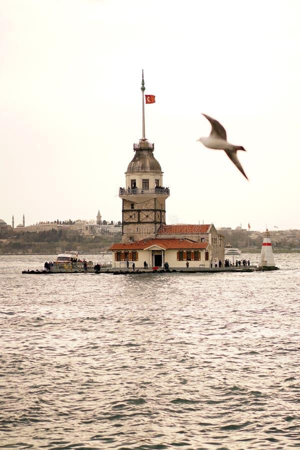 Kulesi del kiz della torre del ` s e gabbiano nubili Costantinopoli fotografie stock libere da diritti
