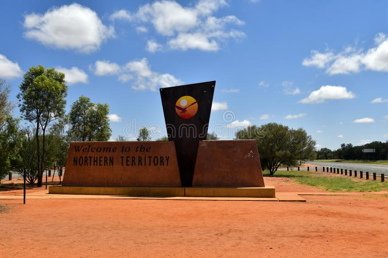 Australia, Northern Territory, Borderline. Kulgara, NT, Australia - November 15, 2017: Border between Northern Territory and South Australia on Stuart Highway stock photography